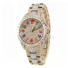 Glamorous All Crystal Studded Bright Color Numbers Women\'s Watch - USD $255.95 from Picsity.com
