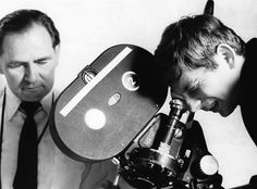 Gilbert Taylor, left, with Roman Polanski on the set of Repulsion in 1965