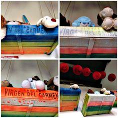 Cajones de verdura pintados para guardar muñecos