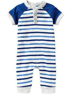 Printed Raglan-Sleeve One-Pieces for Baby