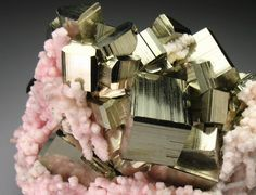Rhodochrosite and Pyrite from the Cassandra Mines, Chalkidiki Prefecture, Greece