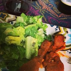 Buffalo seitan wings and Caesar salad #vegan #dinnerbyhusband (recipe on JLgoesVegan.com) Seitan Wings, Caesar Salad, Tandoori Chicken, Buffalo, Vegan, Ethnic Recipes, Food, Eten, Meals