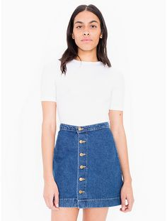 Denim Button Front A-Line Mini Skirt | Mini skirts, Skirts and ...