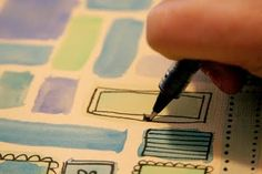 """Inspiration. Watercolor different shapes on cardstock, with pen outline shapes and add """"doodles"""""""