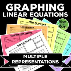 Graphing linear equations with multiple representations, grade math Algebra I Common Core Functions Algebra Equations, Algebra 1, Linear Function, 8th Grade Math, Math Teacher, Math Class, Math Resources, Math Lessons, A Table