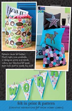 Hobby Lobby Project - Felt In Print & Pattern - Felt Decor, pennants, wall art, pillows, coasters, lampshades, patterns, instructions, how to