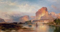 Indians at cliffs of the green river oil painting art real canvas giclee print