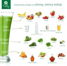 zielone koktajle Healthy Drinks, Healthy Eating, Healthy Recipes, Healthy Food, Cleanse Your Body, Fruit Snacks, Spirulina, Weight Loss Meal Plan, Food Design