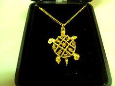 Lovely Turtle Pendent in Original Box Golden Topaz Rhinestones   Bitz of Glitz