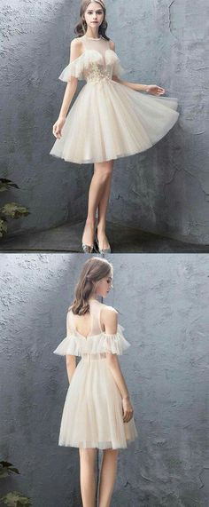 ce94399c818cf Prom Dresses With Sleeves, Grad Dresses, Bridal Dresses, Champagne  Homecoming Dresses, Champagne