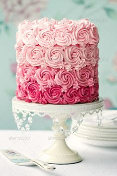 Buy Pink ombre cake by RuthBlack on PhotoDune. Ombre cake in shades of pink Pretty Cakes, Beautiful Cakes, Amazing Cakes, Stunningly Beautiful, Beautiful Things, Torte Rose, Cake Roses, Fondant Flowers, Pink Ombre Cake
