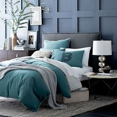 West Elm offers modern furniture and home decor featuring inspiring designs and colors. Create a stylish space with home accessories from West Elm. Dream Bedroom, Home Bedroom, Master Bedroom, Bedroom Decor, Bedrooms, Serene Bedroom, Bedroom Interiors, Charcoal Bedroom, Bedroom Colors