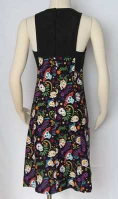 Brody Dress Day of the Dead Design with Black Lace by Jezenya