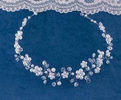 Bridal Headpiece Crystal and Pearl Bridal Hair Piece Ivory