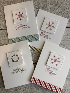 Stampin' up and Papertrey ink simple Christmas cards christmas cards handmade Christmas cards Stamped Christmas Cards, Simple Christmas Cards, Christmas Card Crafts, Homemade Christmas Cards, Homemade Cards, Holiday Cards, Christmas Projects, Diy Christmas Cards Stampin Up, Scrapbook Christmas Cards
