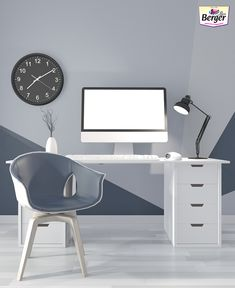 Use geometric wall painting techniques to give a classy look to your office walls.