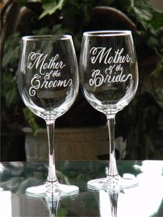 Mother of the Bride and Groom Engraved Wine Glasses Personalized with your wedding date, Set of 2 Wedding Decor, Cute Wedding Ideas, Perfect Wedding, Our Wedding, Wedding Gifts, Dream Wedding, Wedding Inspiration, Bride Gifts, Wedding Stuff