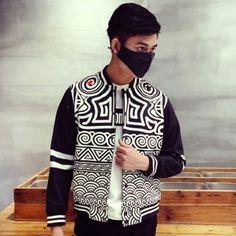 Geometric black bomber jacket men for autumn wear