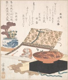 Kakemono of Monkey, Wine Cup and Potted Plants Artist: Keisai Eisen (Japanese, 1790–1848) Period: Edo period (1615–1868) Date: probably 1812 Culture: Japan Medium: Polychrome woodblock print (surimono