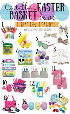 a simple and fun list of easter basket ideas for toddlers that isn't candy! add these easter basket fillers your little bunny will love! basket ideas for toddlers toddler easter basket love {that isn't candy} Easter Baskets For Toddlers, Baby Easter Basket, Easter Crafts For Kids, Easter Decor, Easter For Babies, Easter Table, Girl Easter Baskets, Tween Easter Basket Ideas, Easter Egg Hunt Ideas