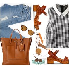brown&brown by narminq on Polyvore featuring Frame Denim, Casadei, Valentino and Chan Luu
