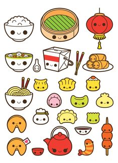 Kawaii chinese food clipart, kawaii food clipart, fortune cookie clipart, soup clipart, dim sum clip in 2019
