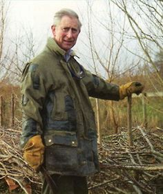 to-the-manner-born:    heavytweedjacket:    A very keen gardener at Highgrove House with what looks like a machete and a well-loved jacket.    The world's best dressed man      I thought I was.