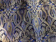 Silk Brocade Fabric Royal Blue and Gold Floral Pattern Weaving - Indian Silk, Wedding Dress Fabric - Pure Banarasi Silk Fabric by the Yard
