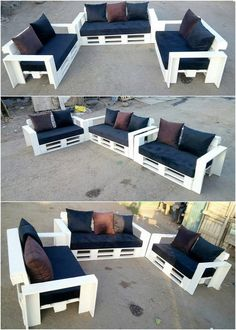 The Best and Easiest DIY Ideas with Recycled Wood Pallets: Let's give your dream home the feel of reality by showing you out with some of the mesmerizing and charming ideas of the old shipping wooden pallets. Pallet Garden Furniture, Diy Pallet Sofa, Reclaimed Wood Furniture, Rustic Furniture, Diy Furniture, Furniture Design, Outdoor Furniture, Pallet Headboards, Pallet Benches