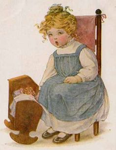 11 little girls and their dolls: 19th century paintings Victorian and Edwardian postcards