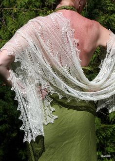 Hand knitted lily of the valley shawl scarf stole by Kailill, $139.00