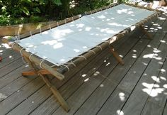 Daybed from reclaimed sails