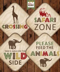 Safari Birthday Party borden, Safari verjaardag Printables, Safari verjaardag Decor