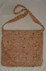 "Messenger Bag Crafted from Plastic Bags - crochet free pattern (also how to make plastic bag yarn ""plarn"")"