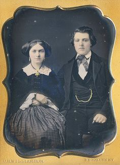 Quarter plate of couple produced by Charles Williamson in his Brooklyn, NY studio.