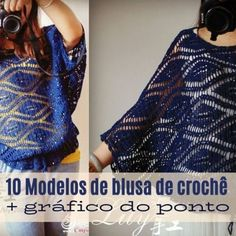10 modelos de blusa de crochê com gráfico do ponto Beginner Crochet Tutorial, Crochet Diagram, Crochet Patterns For Beginners, Crochet Motif, Crochet Stitches, Yarn Bag, Fifties Fashion, Top Pattern, Free Sewing