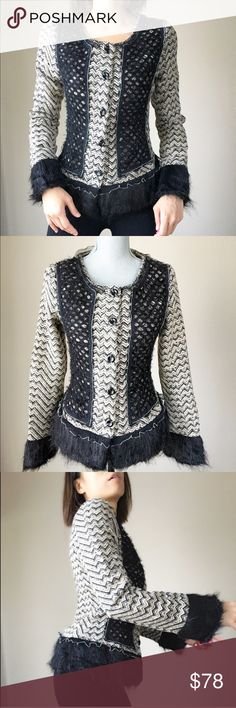 """Faux fur trim wool blazer jacket. High fashion High fashion haute couture blazer jacket. Fully lined with much detailing. Faux fur trim Fringe sleeve and hem. Little ruffles with beading detail around the trimmings. Lace appliqué work. Size S : shoulder :14"""", bust 17"""", w:15.5"""", sleeve:24"""", length 23"""". Size M: shoulder 14.5"""", bust 18"""",w:16.5"""" length:23"""". Size L: shoulder 15"""",bust 19"""", w:17.5"""" length : 24"""", sleeve 25. All measurements taken flat lay in inches. Made of 10% wool 90% fiber…"""