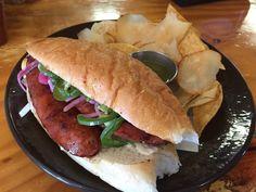 Today Boca has a Sausage Sandwich.. damn now I\'m hungry. Comes with smoked onion mayo pickled onions & jalepeños. With your choice of either a salad or mixed chips. 8.50$ @boca31.denton  #boca31 #chefandresmeraz #dentonslacker #dealoftheday #lunchspecial #denton #dentontexas #dentontx #dentoning #wedentondoit #wddi #unt #twu #dentonite #doingitdenton #DentonProud