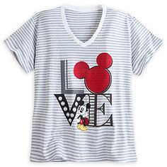 Mickey Mouse Striped Tee for Women - Plus Size, wish this came in a smaller size, LOVE
