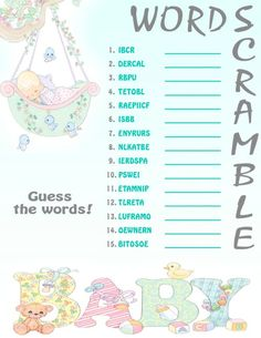 Word Scramble Printable Baby Shower Game on Etsy