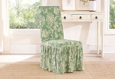 Photo of Stretch Verona Long Dining Chair Covers - GREAT WAY TO UPCYCLE A RATTY CHAIR.  ADD WHEELS FOR CRAFT CHAIR.