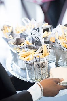 French fries in mini fry baskets | Brides.com