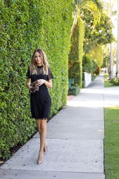 Little Blonde Book A Fashion Blog by Taylor Morgan: Black Lace dress+nude pumps+leopard clutch+red tassel earrings. Late Summer Party Outfit 2016