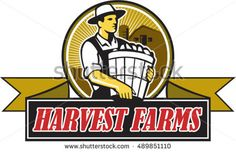 Illustration of an organic farmer carrying basket of harvest crops looking to the side set inside circle with barn and sunburst in the background and words Harvest Farms on a ribbon in retro style.  #farmer #retro #illustration