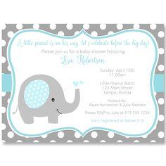 Polka Dot Elephant Aqua Baby Shower Invitation