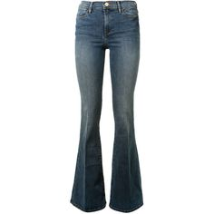 Frame Denim Le High Flare Jeans (755 TND) ❤ liked on Polyvore featuring jeans, blue jeans, frame denim, zipper denim jeans, blue denim jeans y zipper jeans