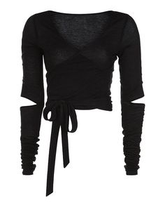 Constructed for performance and style, this textured knit cropped wrap-over top transcends your workout. Crafted from soft fabric, its length design delivers trans-seasonal warmth while letting the skin breathe. Beautiful worn alone or over a vest, th Rock Chic, Dance Outfits, Cute Outfits, Dance Shirts, Dance Tops, Rocker, Sweaty Betty, Wrap Shirt, Black Crop Tops