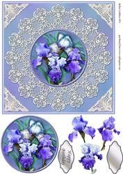 Blue Irises On Lace Doily Quick Card.