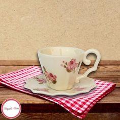 Kávés csésze készlet, Violin apró rózsás
