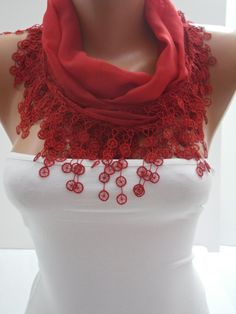 Red Cotton Shawl/Scarf by DIDUCI on Etsy, $14.50